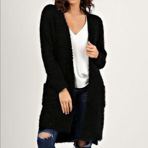 Solid black oversized fuzzy Cardigan